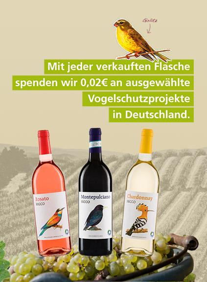 Mit jeder verkauften Flasche spenden wir 0,02€ an ausgewählte Vogelschutzprojekte in Deutschland